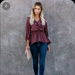 Mists Of All Time High Low Ruffle Blouse-Mocha